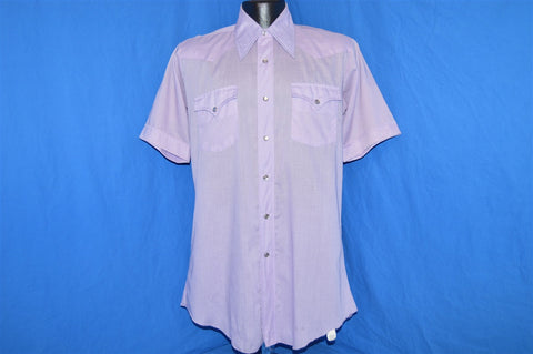 70s H Bar C Purple Pearl Snap Shirt Medium Tall