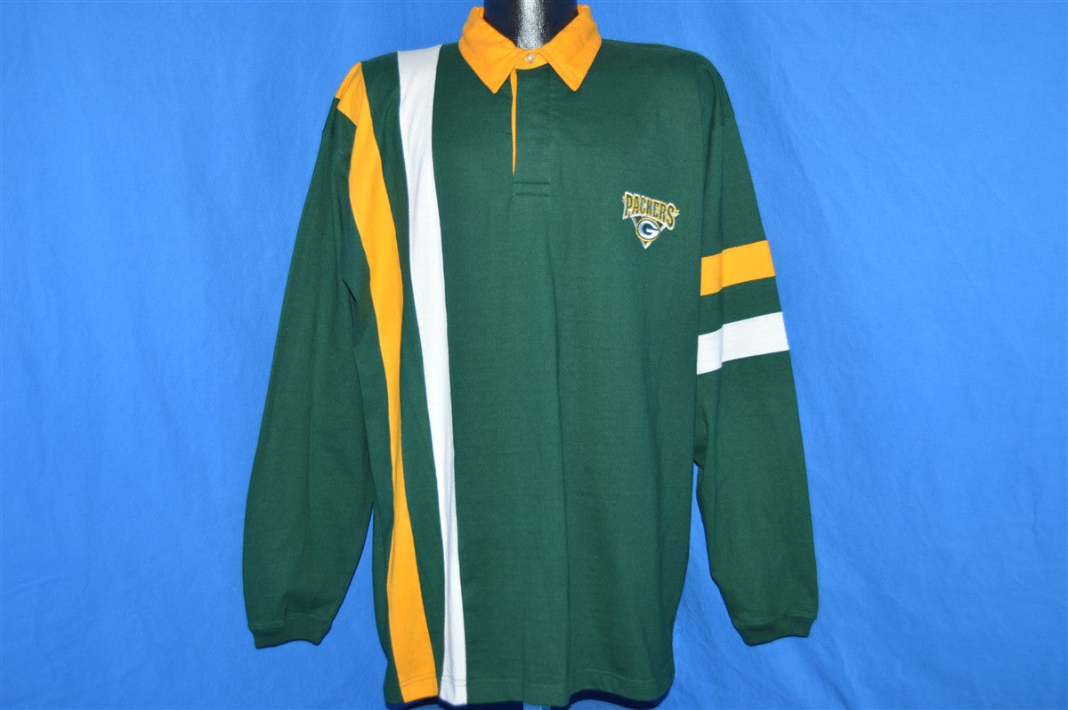 90s Green Bay Packers Striped Rugby Polo Shirt Large The Captains