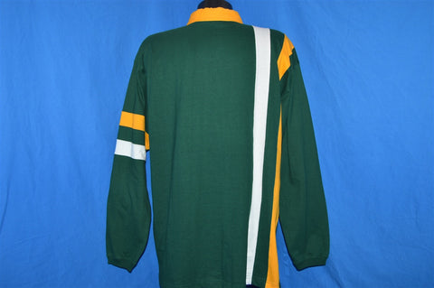 90s Green Bay Packers Striped Rugby Polo Shirt Large