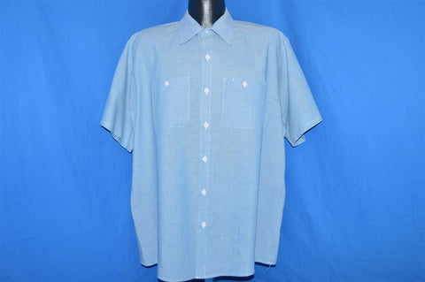 80s Blue Chambray Button Down Shirt Tall Large