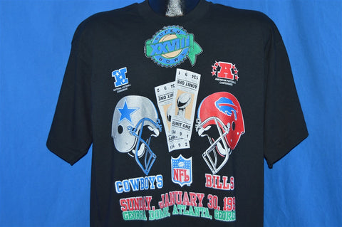 90s Super Bowl XXVIII Cowboys vs Bills 1993 t-shirt Extra-Large