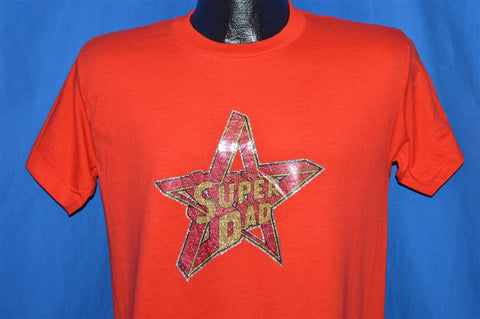 80s Super Dad Star Hero Father Glitter Iron On t-shirt Medium