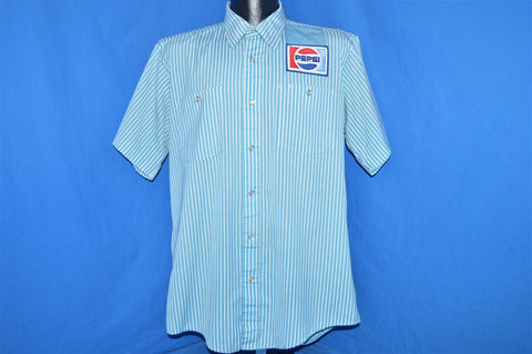 80s Pepsi Striped Button Down Shirt Large