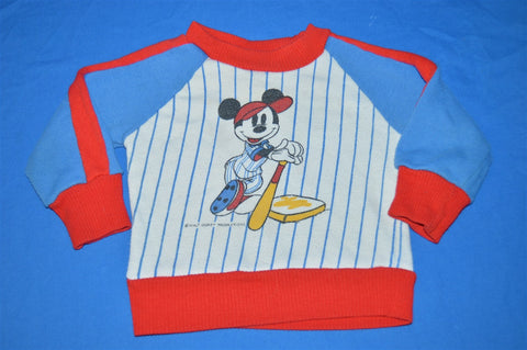 80s Mickey Mouse Disney Baseball Stripe Kids Sweatshirt 18 Months