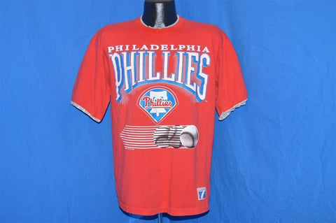 90s Philadelphia Phillies Logo 7 Pinstripe Sleeves t-shirt Large