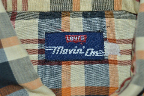80s Levis Movin On Plaid Shirt Large