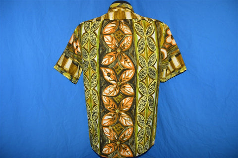 60s Island Casuals Brown Green Tiki Pull Over Aloha Shirt Large