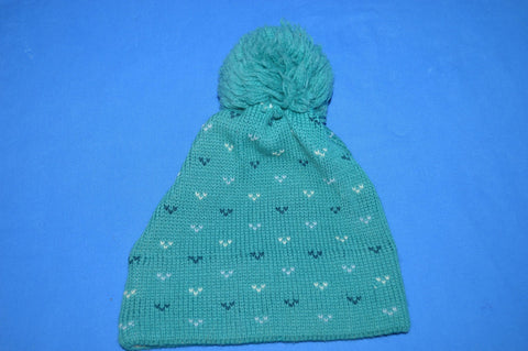 80s Wigwam Turquoise Wool Bobble Winter Hat