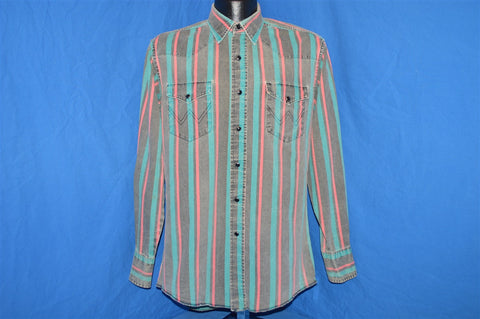 90s Wrangler Pastel Striped Pearl Snap Shirt Medium