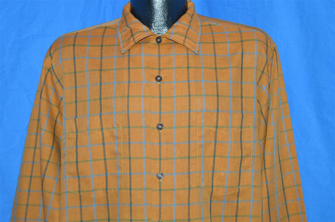 50s McGregor Scotset Brown Plaid Shirt Large