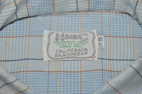 70s Blue Plaid Bib Front Rodeo Pearl Snap Shirt Extra Large