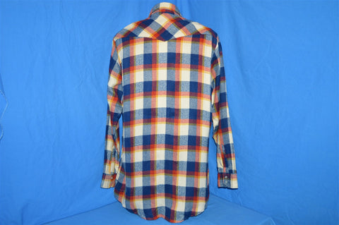 80s Sears Blue White Red Plaid Flannel Pearl Snap Shirt Large