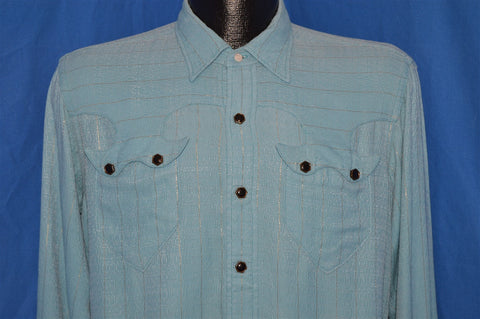 40s Blue Metallic Stripe Washfast Pearl Snap Shirt Large