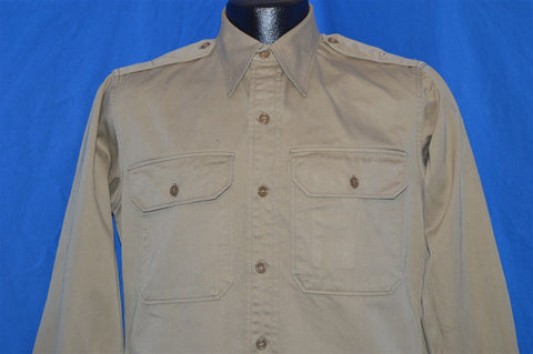 40s Khaki US Military Officer Uniform Shirt Large