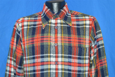 70s Lawn's Acrylic Red Black Flannel Shirt Medium