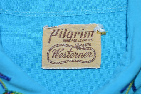 40s Pilgrim Blue Rainbow Embroidered Pearl Snap Shirt Medium
