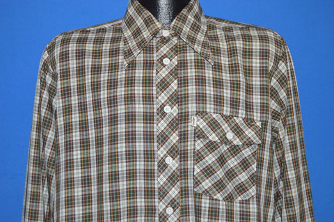 70s Levi's Brown Green Plaid Button Up Shirt Large
