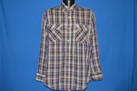 80s Levis Blue White Red Plaid Button Up Shirt Large