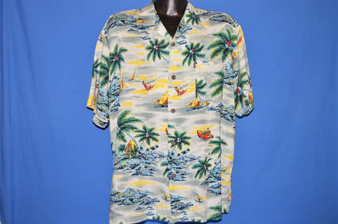 90s Pineapple Connection Sailboat Water Skiing Palm Tree Shirt Large