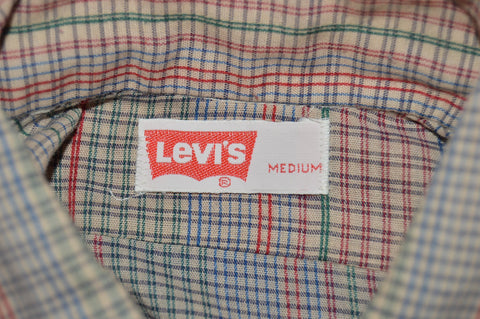 80s Levi's Rainbow Plaid White Tab Shirt Medium