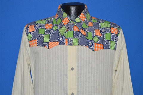 70s Nevada Neon Patchwork Disco Shirt Medium