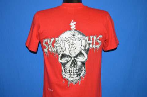 80s Skate This Skull Irish Eyes Skateboard t-shirt Small