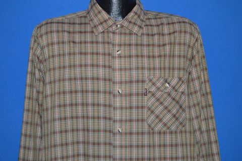 80s Levi's Brown Green Plaid Shirt Large