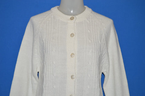 70s White Cable Knit Women's Cardigan Sweater Medium