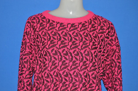 90s Neon Pink Leaf Ugly Women's Sweater Small
