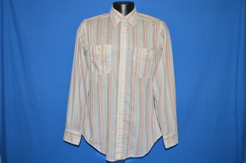 80s Levi's Pink Brown Striped Shirt Small/Medium