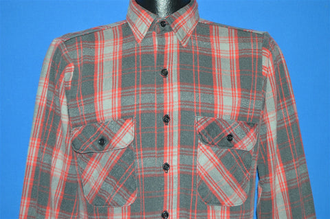 80s Red Black Plaid Button Down Shirt Small