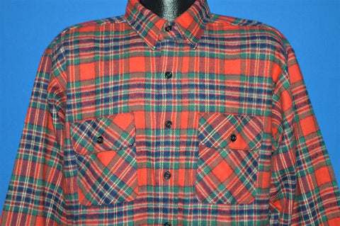 80s Red Green Blue Plaid Flannel Button Down Shirt Large Tall