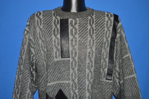 90s Brandini Gray Chains Leather Patch Sweater Large