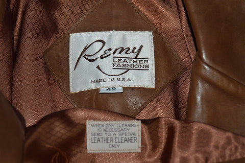 70s Remy Buffalo Button Leather Suit Jacket Size 42