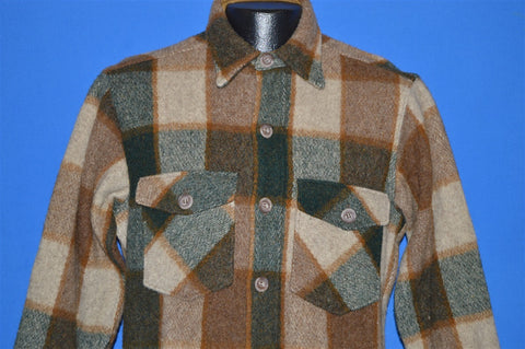 80s Woolrich Heavy Brown Plaid Button Down shirt Medium