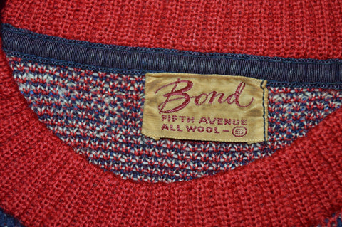40s Bond Blue Red Snowflake Sweater Small