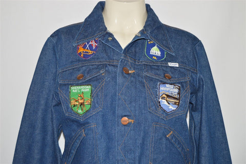 80s Wrangler Tourist Patch Covered Denim Jacket Youth Large