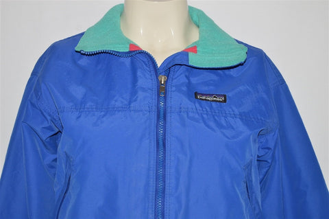 90s Patagonia Blue Fleece-Lined Windbreaker Jacket Youth 7/8