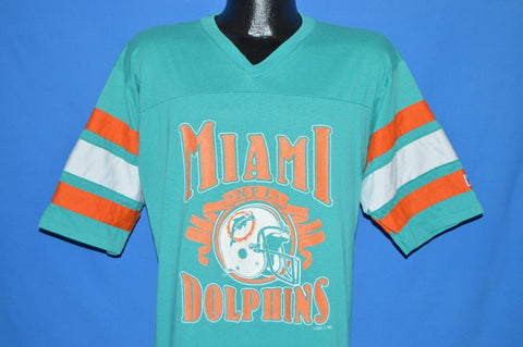 80s Miami Dolphins Striped Jersey t-shirt Large