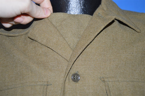 40s Olive Green WWII Wool Military Uniform Shirt Medium