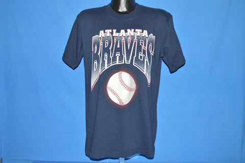 90s Atlanta Braves Play Ball Dark Blue Baseball t-shirt Large