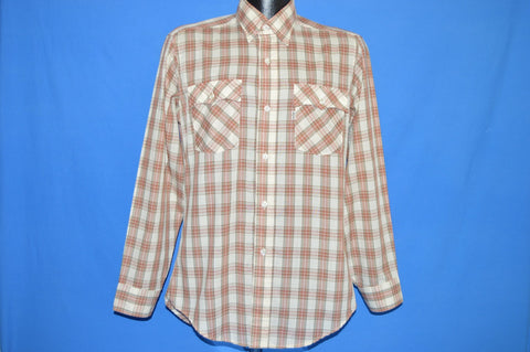 80s Levis Red Off White Plaid Button Down Shirt Medium