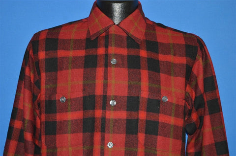 60s Sears Plaid Button Down Wool shirt Small