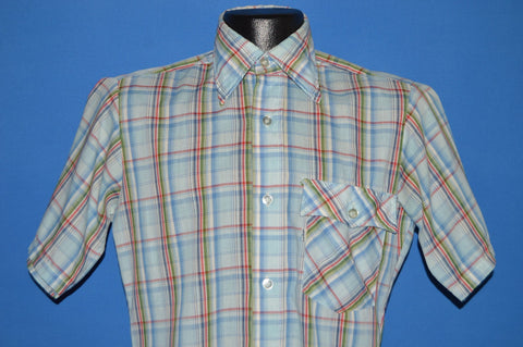 80s Levis Blue Red Green Plaid Shirt Extra Small