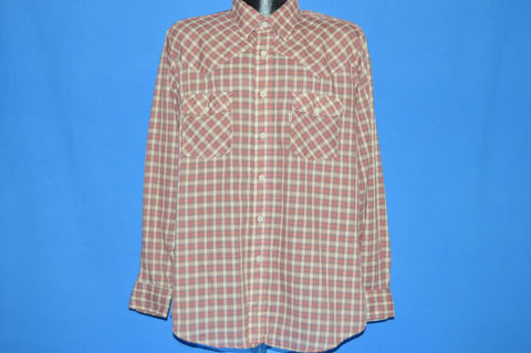80s Levis Red Gray Plaid Western Shirt Large