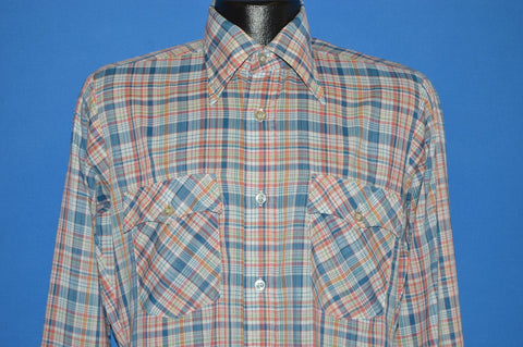 80s Levis Blue Red Plaid Button Down Shirt Medium
