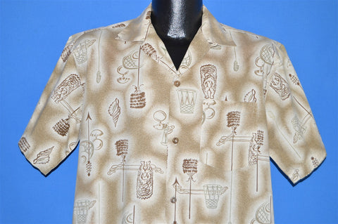 50s Tropicana Tiki Brown Aloha Shirt Medium