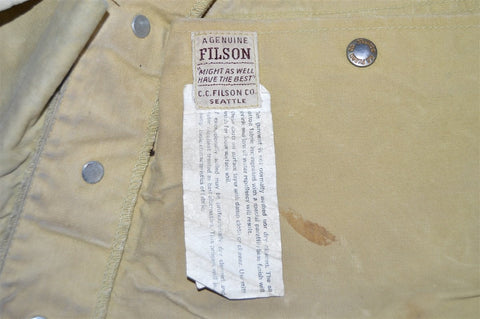 70s CC Filson Tan Waxed Hunting Vest Extra Large