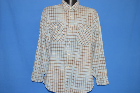 80s Levis Brown Blue Plaid Flannel Shirt Large