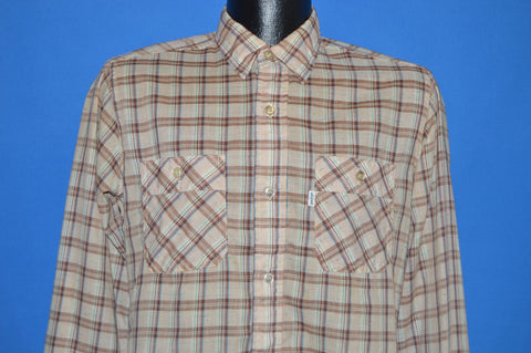 90s Levis Brown Beige Plaid Textured Weave Shirt Medium